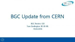 BGC Update from CERN BGC Review GSI Tom