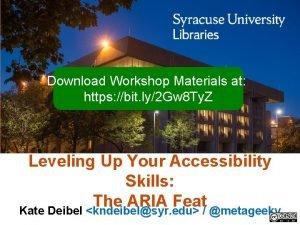 Download Workshop Materials at https bit ly2 Gw
