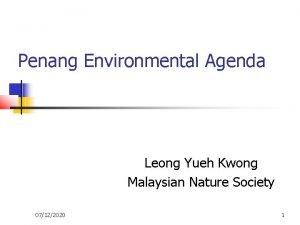 Penang Environmental Agenda Leong Yueh Kwong Malaysian Nature