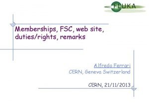Memberships FSC web site dutiesrights remarks Alfredo Ferrari