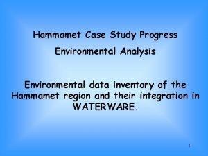 Hammamet Case Study Progress Environmental Analysis Environmental data