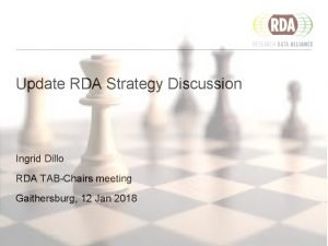 Update RDA Strategy Discussion Ingrid Dillo RDA TABChairs