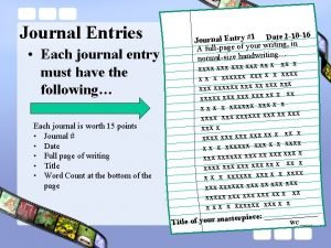 Journal Entries Each journal entry must have the