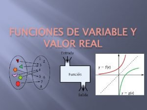 FUNCIONES DE VARIABLE Y VALOR REAL FUNCIN Una