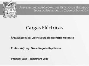 Cargas Elctricas rea Acadmica Licenciatura en Ingeniera Mecnica