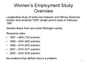 Womens Employment Study Overview Longitudinal study of white