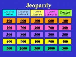 Jeopardy Application Software II System Software II Computing