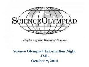 Science Olympiad Information Night JML October 9 2014