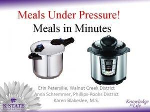 Meals Under Pressure Meals in Minutes Erin Petersilie