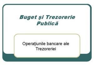 Buget i Trezorerie Public Operaiunile bancare ale Trezoreriei