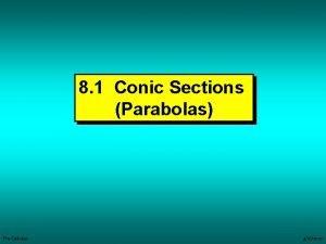 8 1 Conic Sections Parabolas PreCalculus 4162007 Parabolas