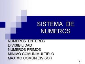 SISTEMA DE NUMEROS NMEROS ENTEROS DIVISIBILIDAD NMEROS PRIMOS