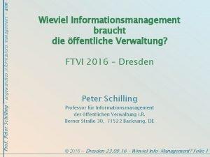 Prof Peter Schilling angewandtes informations management aim Wieviel