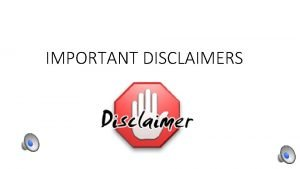 IMPORTANT DISCLAIMERS 1 This Was Created With No