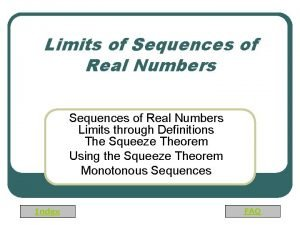 Limits of Sequences of Real Numbers Limits through
