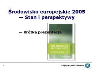 rodowisko europejskie 2005 Stan i perspektywy Krtka prezentacja
