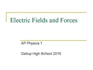 Electric Fields and Forces AP Physics 1 Gallup
