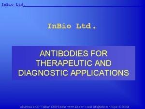 In Bio Ltd In Bio Ltd ANTIBODIES FOR