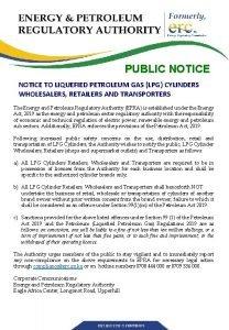 PUBLIC NOTICE TO LIQUEFIED PETROLEUM GAS LPG CYLINDERS
