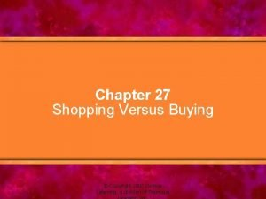 Chapter 27 Shopping Versus Buying Copyright 2005 Delmar