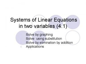 Systems of Linear Equations in two variables 4