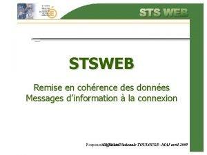 STSWEB Remise en cohrence des donnes Messages dinformation