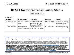 November 2005 doc IEEE 802 11 051164 r