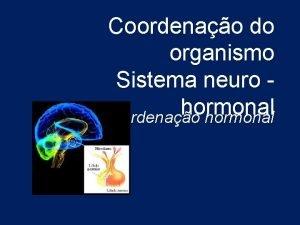 Coordenao do organismo Sistema neuro hormonal Coordenao hormonal