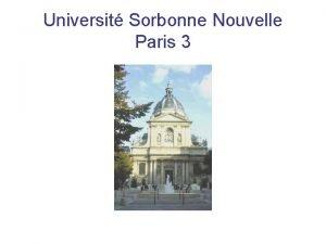 Universit Sorbonne Nouvelle Paris 3 Universit Sorbonne Nouvelle