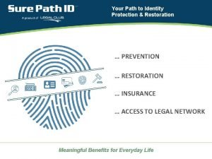 Your Path to Identity Protection Restoration PREVENTION RESTORATION