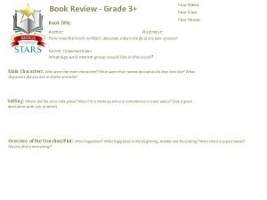 Book Review Grade 3 Book Title Your Name