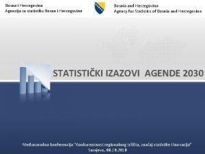 Bosna i Hercegovina Agencija za statistiku Bosne i