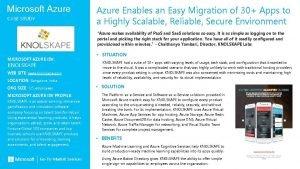 Microsoft Azure CASE STUDY Azure Enables an Easy