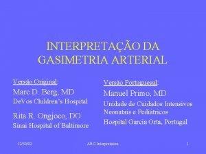 INTERPRETAO DA GASIMETRIA ARTERIAL Verso Original Verso Portuguesal