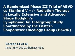 A Randomized Phase III Trial of ABVD vs