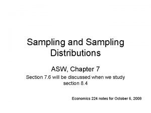 Sampling and Sampling Distributions ASW Chapter 7 Section