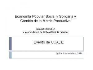 Economa Popular Social y Solidaria y Cambio de
