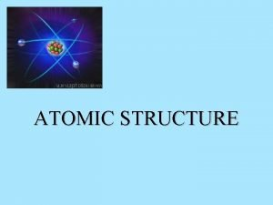 ATOMIC STRUCTURE Atomic Structure All matter is composed