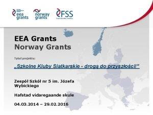 EEA Grants Norway Grants Tytu projektu Szkolne Kluby