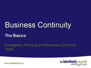 Business Continuity The Basics Emergency Planning and Business