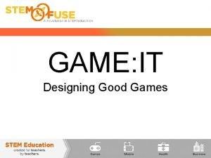 GAME IT Designing Good Games Designing Good Games