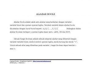 ALJABAR BOOLE Aljabar Boole adalah satu aljabar yang