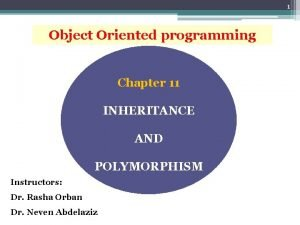 1 Object Oriented programming Chapter 11 INHERITANCE AND