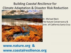 Building Coastal Resilience for Climate Adaptation Disaster Risk