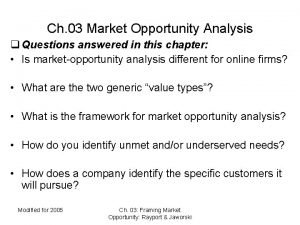 Ch 03 Market Opportunity Analysis q Questions answered