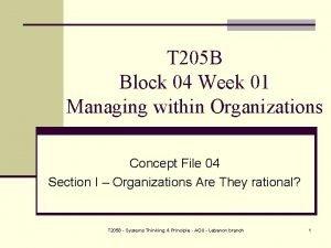 T 205 B Block 04 Week 01 Managing