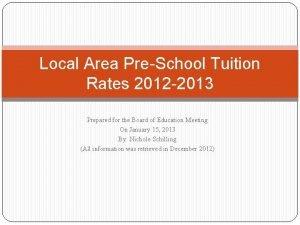 Local Area PreSchool Tuition Rates 2012 2013 Prepared