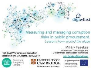 Measuring and managing corruption risks in public procurement