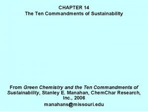 CHAPTER 14 The Ten Commandments of Sustainability From