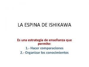 LA ESPINA DE ISHIKAWA Es una estrategia de